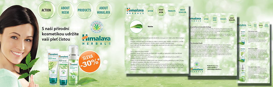 Himalaya Herbals micro web site concept design and programming banner copy