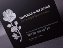 Vetia Floris card with lamination uv varnish and gold foil.