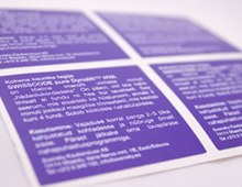 Swisscode stickers digital print purple